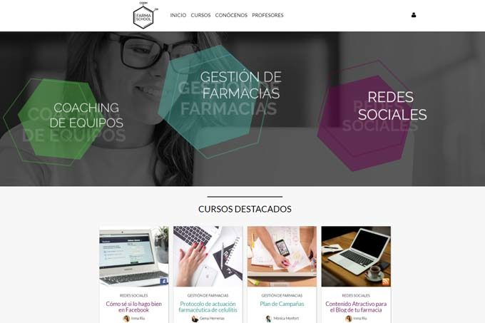 Captura de pantalla de www.farmaschool.com